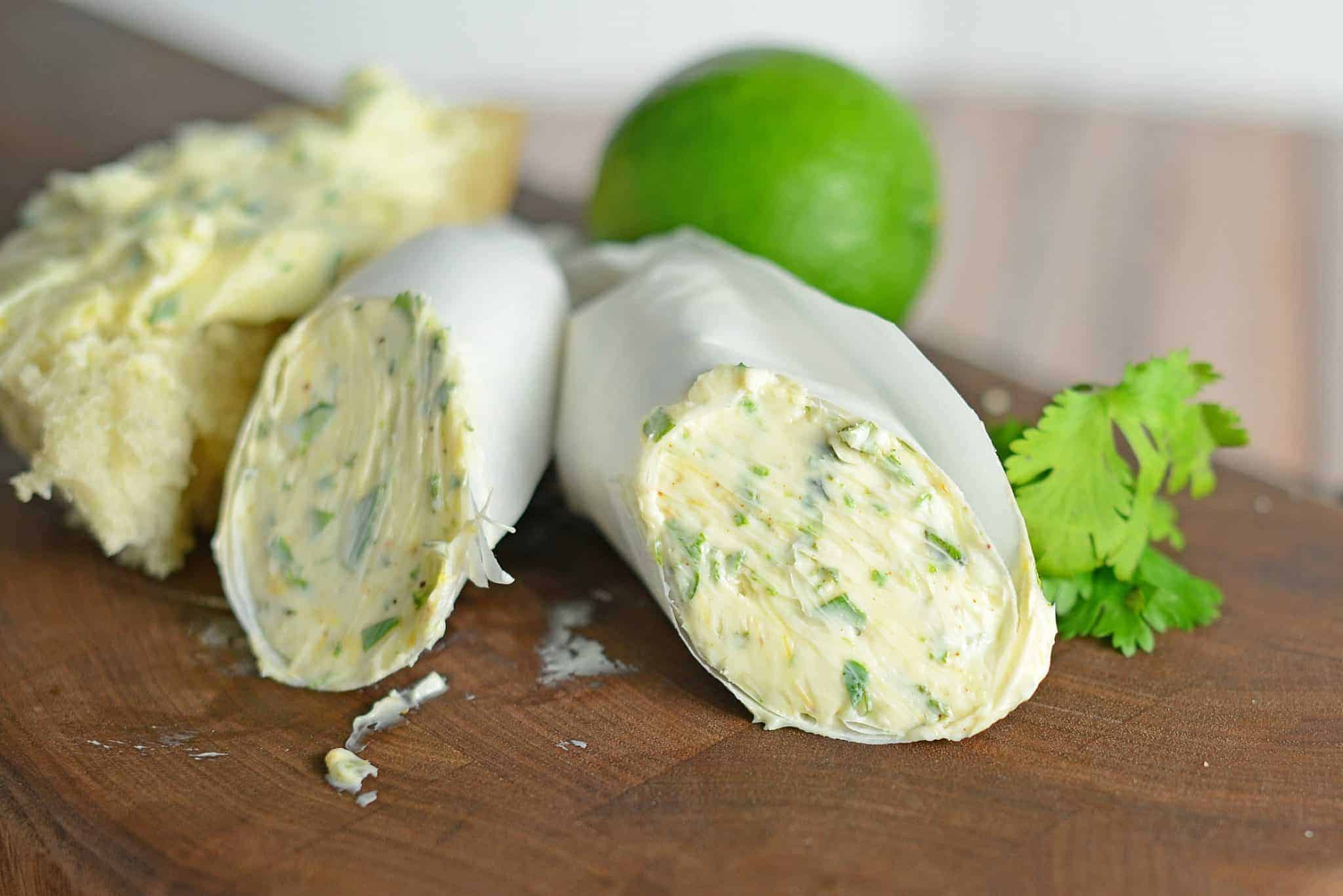 Chile Lime Butter- a zesty blended butter perfect for corn on the cob and sautéing vegetables. #flavoredbutter #limebutter www.savoryexperiments.com