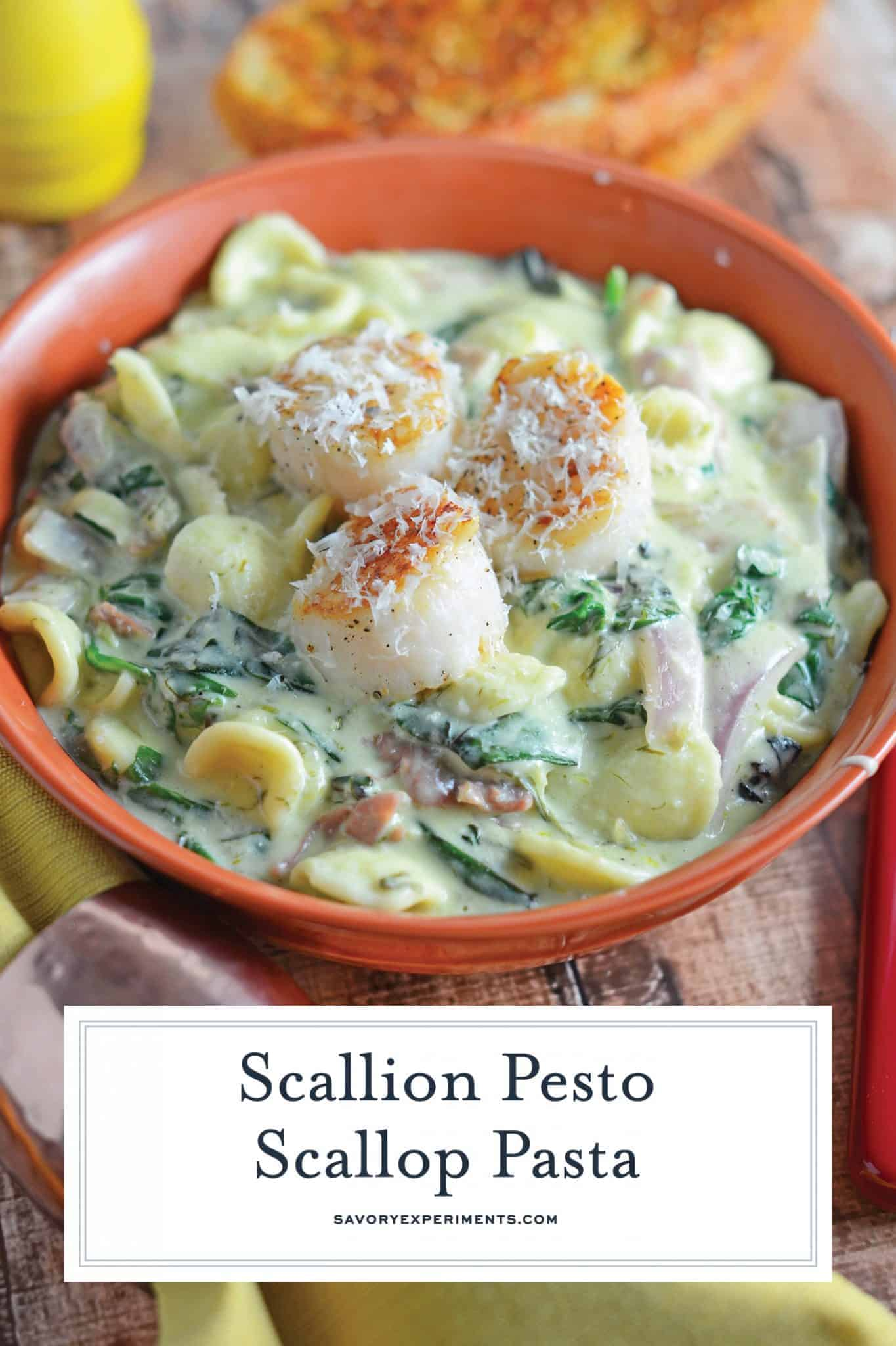 Scallion Pesto Scallop Pasta is a restaurant quality dish, creamy pasta sauce with garlic, Swiss chard, prosciutto and seared scallops. #pastarecipes #scalloprecipes www.savoryexperiments.com
