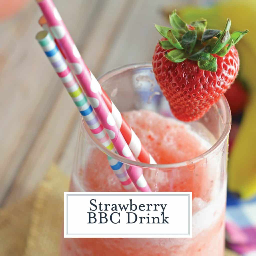 BBC Frozen Drink Recipe is banana, strawberry, Bailey's and coconut. It is sure to be a party favorite! One fabulous tropical cocktail and the perfect drink for parties! #tropicaldrinks #frozencocktails www.savoryexperiments.com