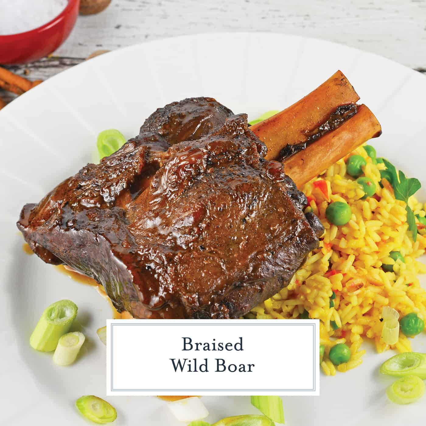 Braised Wild Boar Shanks are a sophisticated and exotic meal, ideal for special occasions and dinner parties. Lean and healthy with loads of rich flavor. #wildboar #braisedwildboar www.savoryexperiments.com