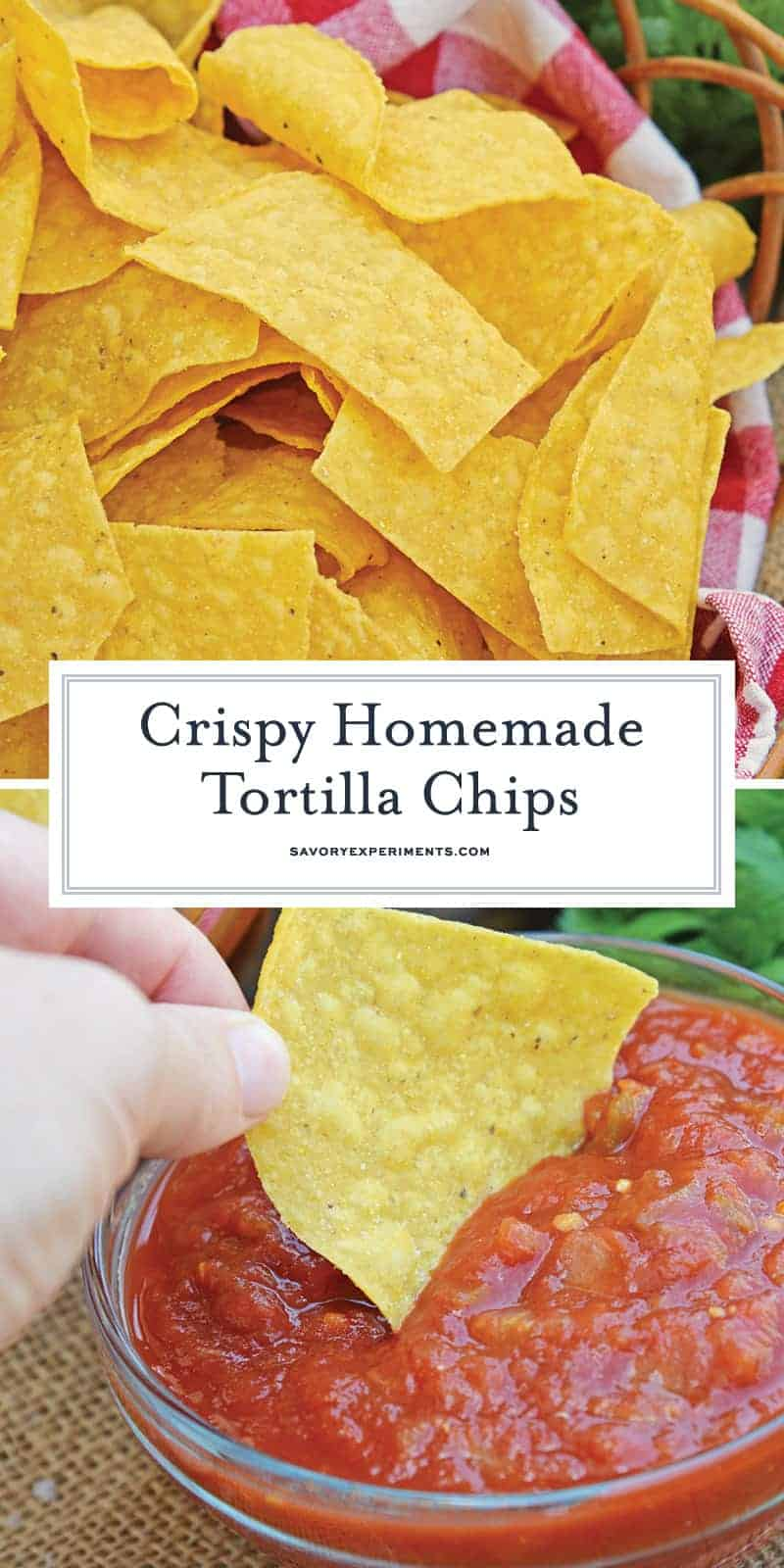 Homemade Tortilla Chips - Use your leftover corn tortillas to make homemade tortilla chips. Super crunchy, serve with salsa, dips or as a snack. www.savoryexperiments.com