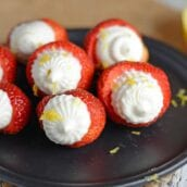 No Bake Cheesecake Stuffed Strawberries are an easy party dessert made with no bake cheesecake and fresh strawberries.#cheesecakestuffedstrawberries #nobakedesserts www.savoryexperiments.com