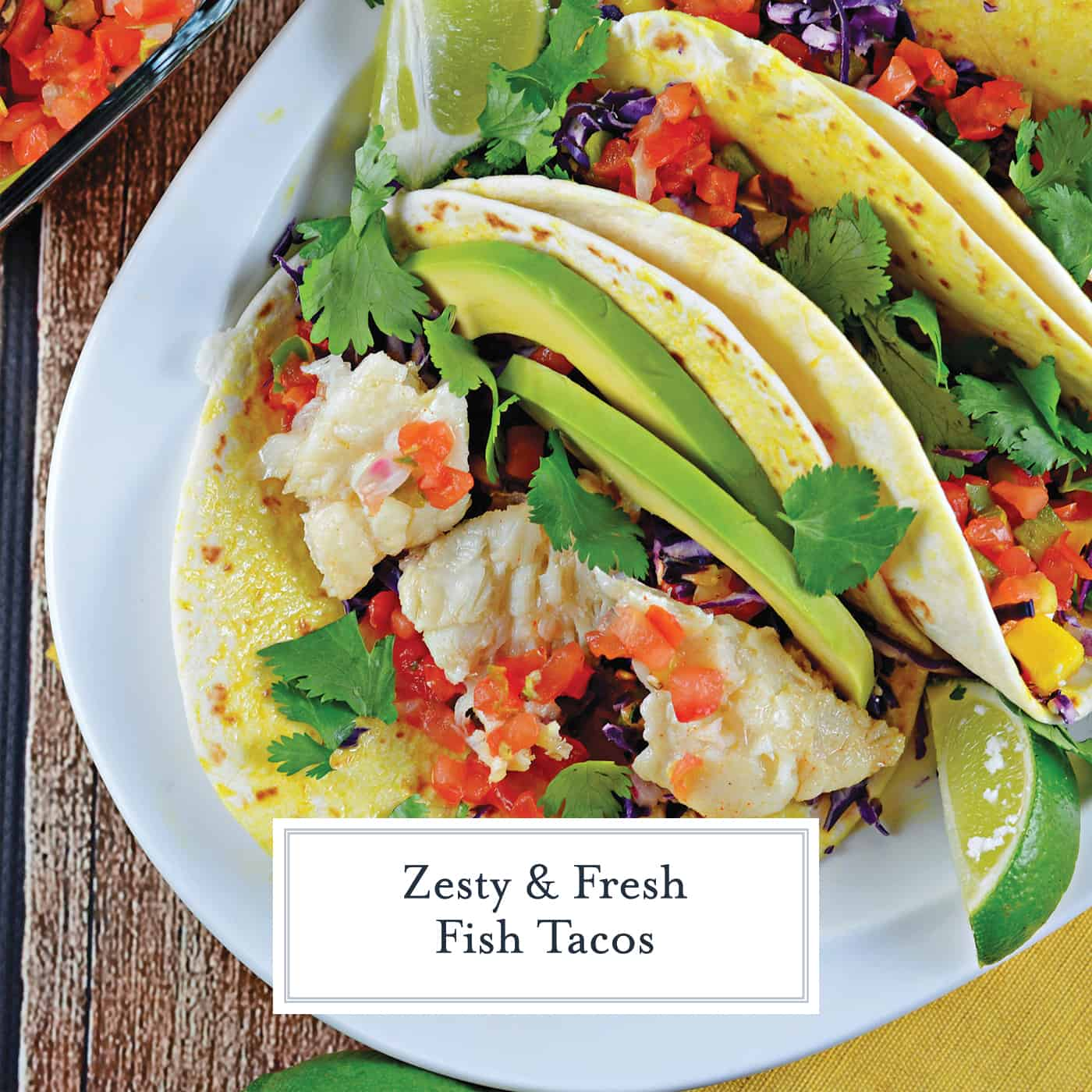 Easy fish taco recipe full of flavor with pico de gallo, shredded cabbage, avocado, queso fresco and a special homemade hot sauce. #fishtacorecipe #bestfishtacos www.savoryexperiments.com