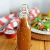 Japanese Ginger Dressing in a glass bottle