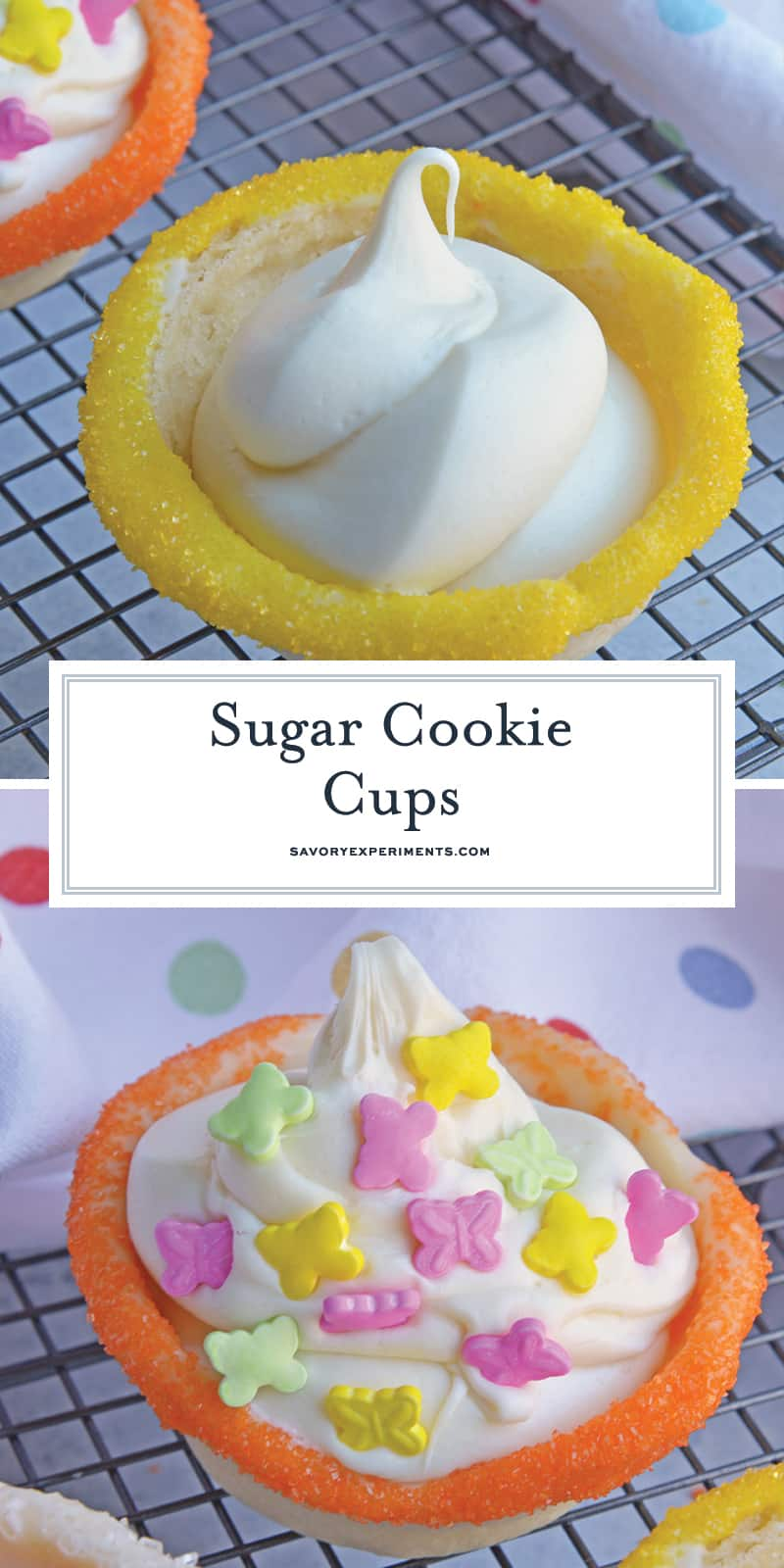 This Sugar Cookie Cups recipe puts a spin on your typical ice cream cone. Why choose between cookies or ice cream when you can have both! #sugarcookiecups #howtomakesugarcookiecups www.savoryexperiments.com