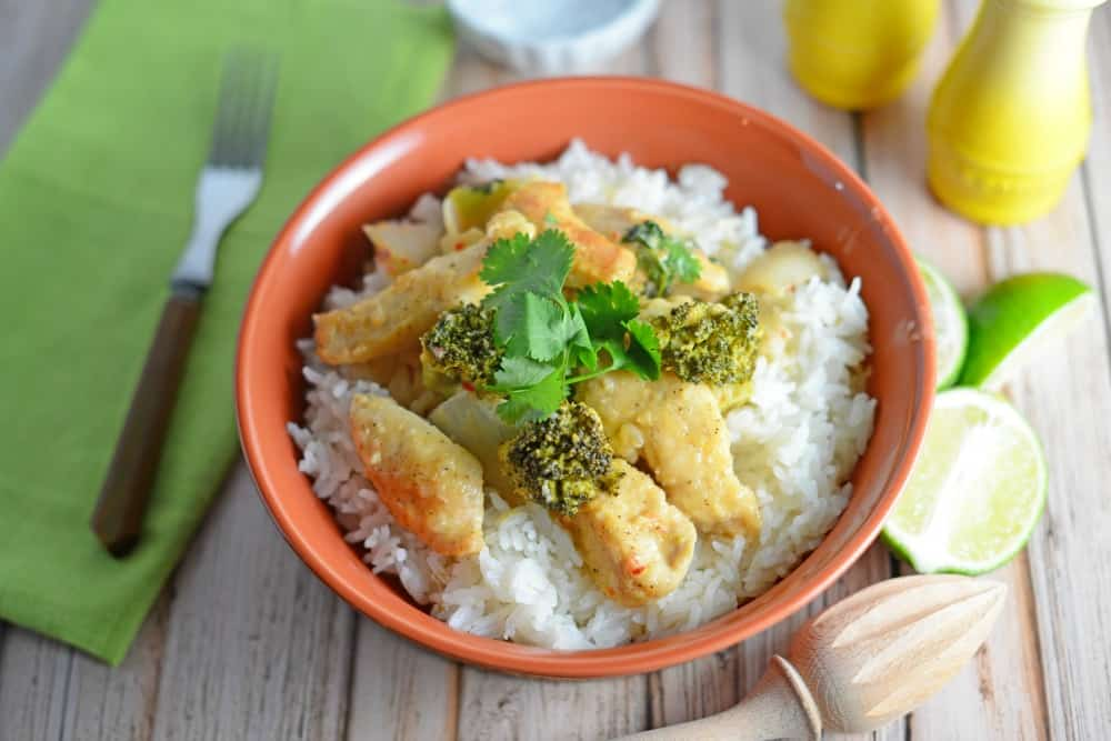 Thai coconut chicken an easy healthy fast dinner recipe thai coconut chicken is a easy dinner recipe made with coconut milk broccoli ginger forumfinder Choice Image