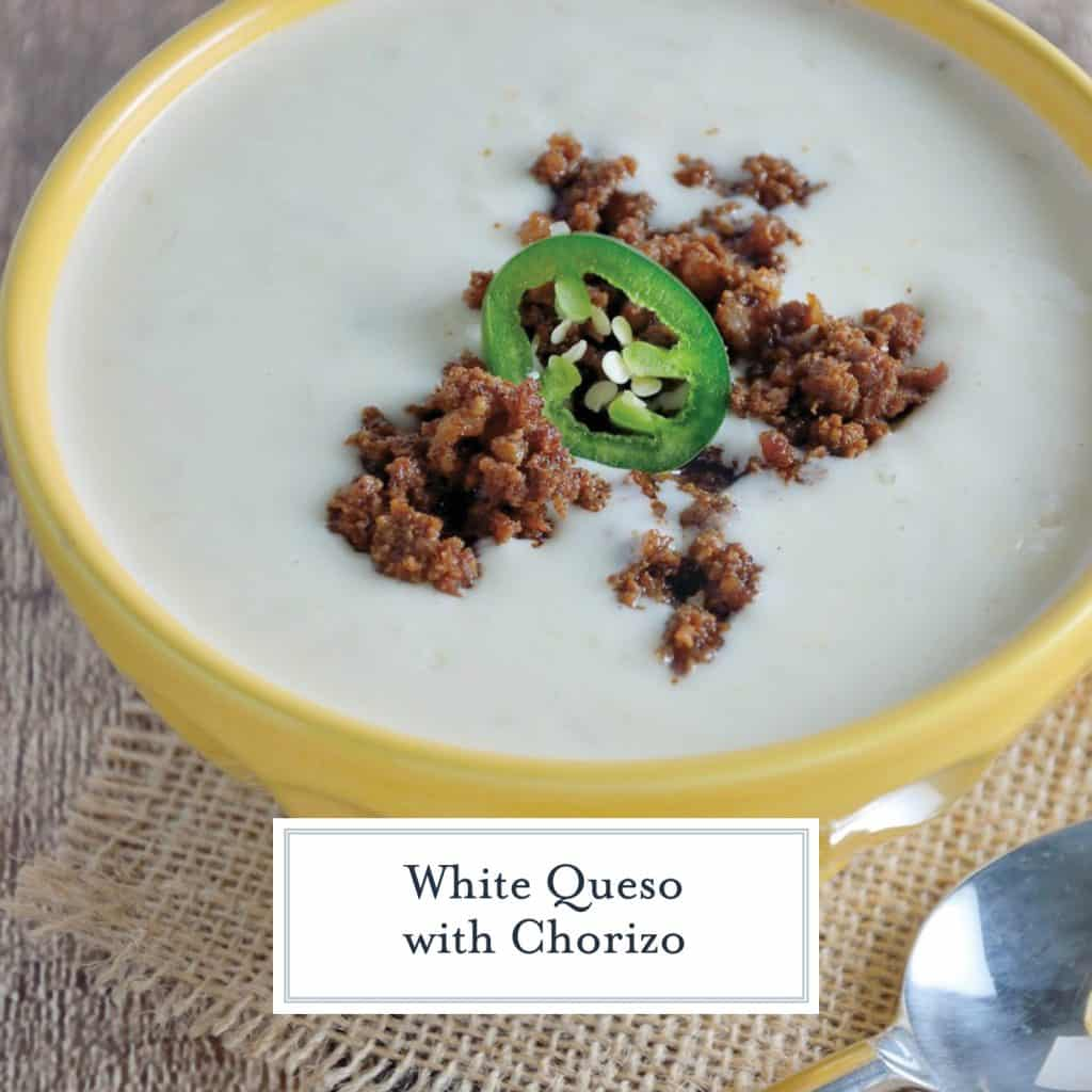 White Queso Dip is an easy appetizer that is perfect for parties or watching the big game! This Mexican cheese dip is the BEST cheese dip you will ever make! #whitequesodip #mexicancheesedip #mexicanwhitecheesedip www.savoryexperiments.com