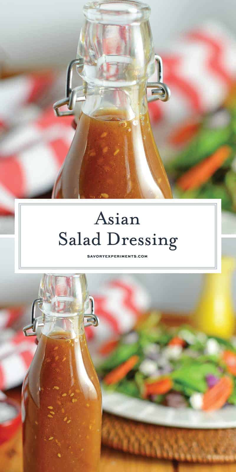 This Asian Salad Dressing is a great copycat recipe for what you get at Japanese steakhouses like Benihana or Kobe! It's a sweet ginger and sesame combination! #asiansaladdressing #gingersaladdressing #japanesesaladdressing www.savoryexperiments.com
