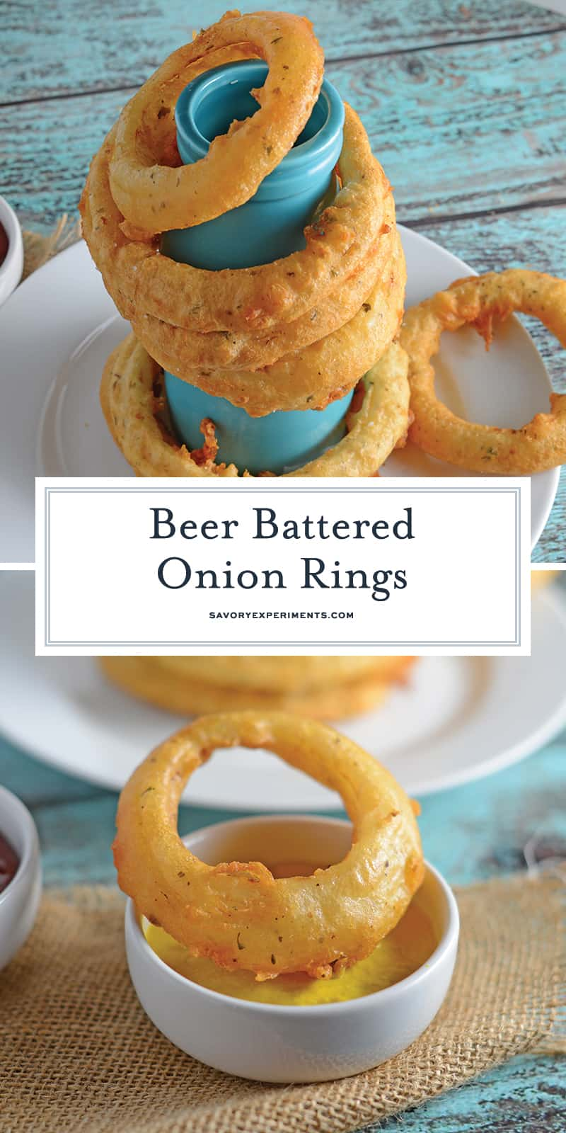 Beer Battered Onion Rings gives you crunchy and crispy homemade beer battered onion rings. Dip them in a spicy chipotle remoulade or enjoy them alone. #homemadeonionrings #friedonionrings #beerbatteredonionrings www.savoryexperiments.com