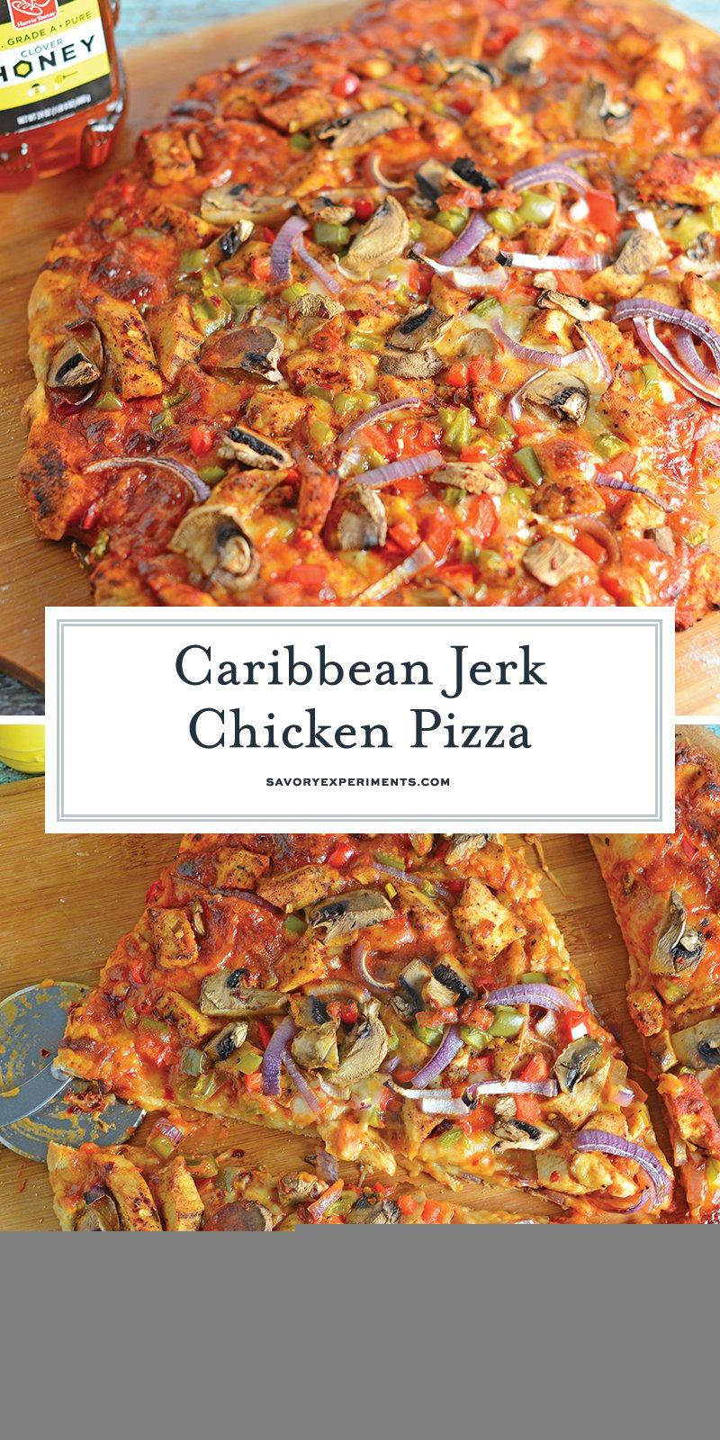 Caribbean Jerk Chicken Pizza is an easy homemade pizza recipe using spicy chicken, fresh vegetables and a touch of honey.#homemadepizza #jerkchicken #jerkchickenpizza www.savoryexperiments.com