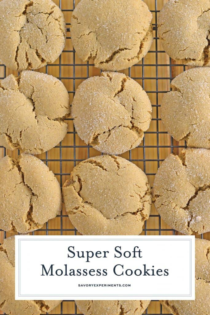 These Molasses Cookies are one of my favorite Christmas cookies! This Molasses Cookie Recipe is soft and spicy without being overly sweet! #molassescookies #molassescookierecipe #gingersnapcookies www.savoryexperiments.com