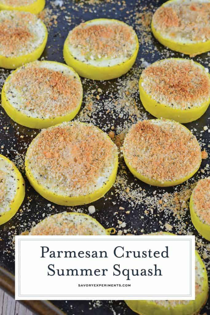 This Parmesan Crusted Yellow Squash recipe is baked and topped with parmesan cheese and bread crumbs. It'll become your new favorite summer squash recipe side dish! #summersquashrecipe #yellowsquashrecipes www.savoryexperiments.com