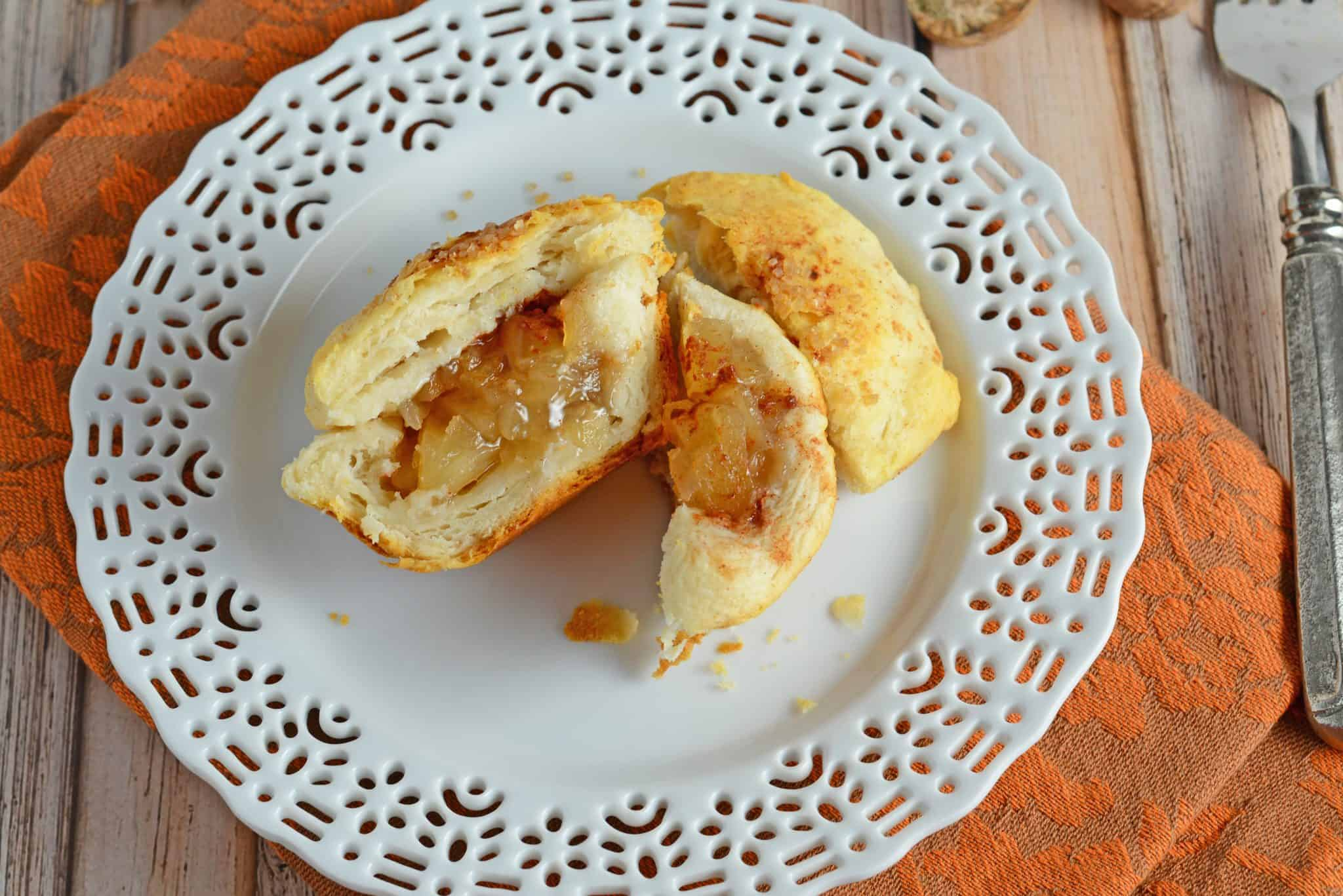 Easy Apple Dumplings can be made for breakfast or as a dessert! Pair your Apple Dumplings Recipe with vanilla ice cream or syrup for a delicious treat! #appledumplings #appledumplingsrecipe #recipeswithapples www.savoryexperiments.com