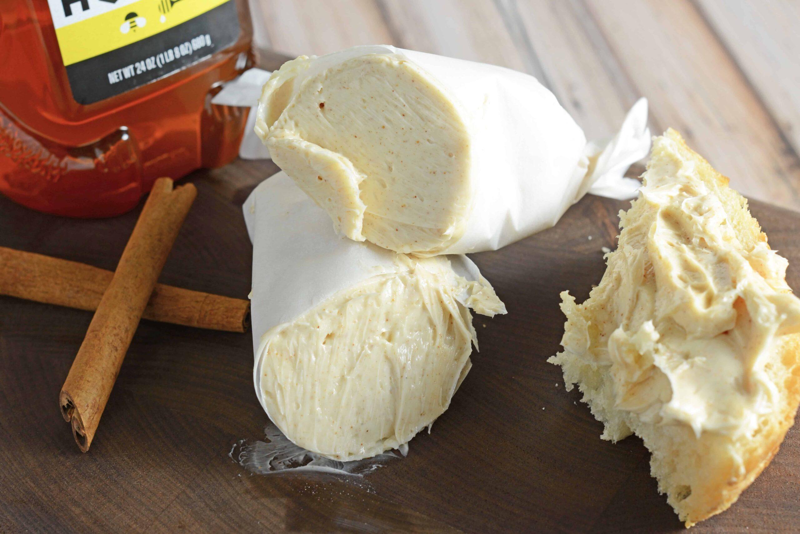 Roll of Copycat Texas Roadhouse Butter cut in half