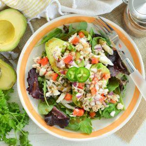 overhead of crab avocado salad