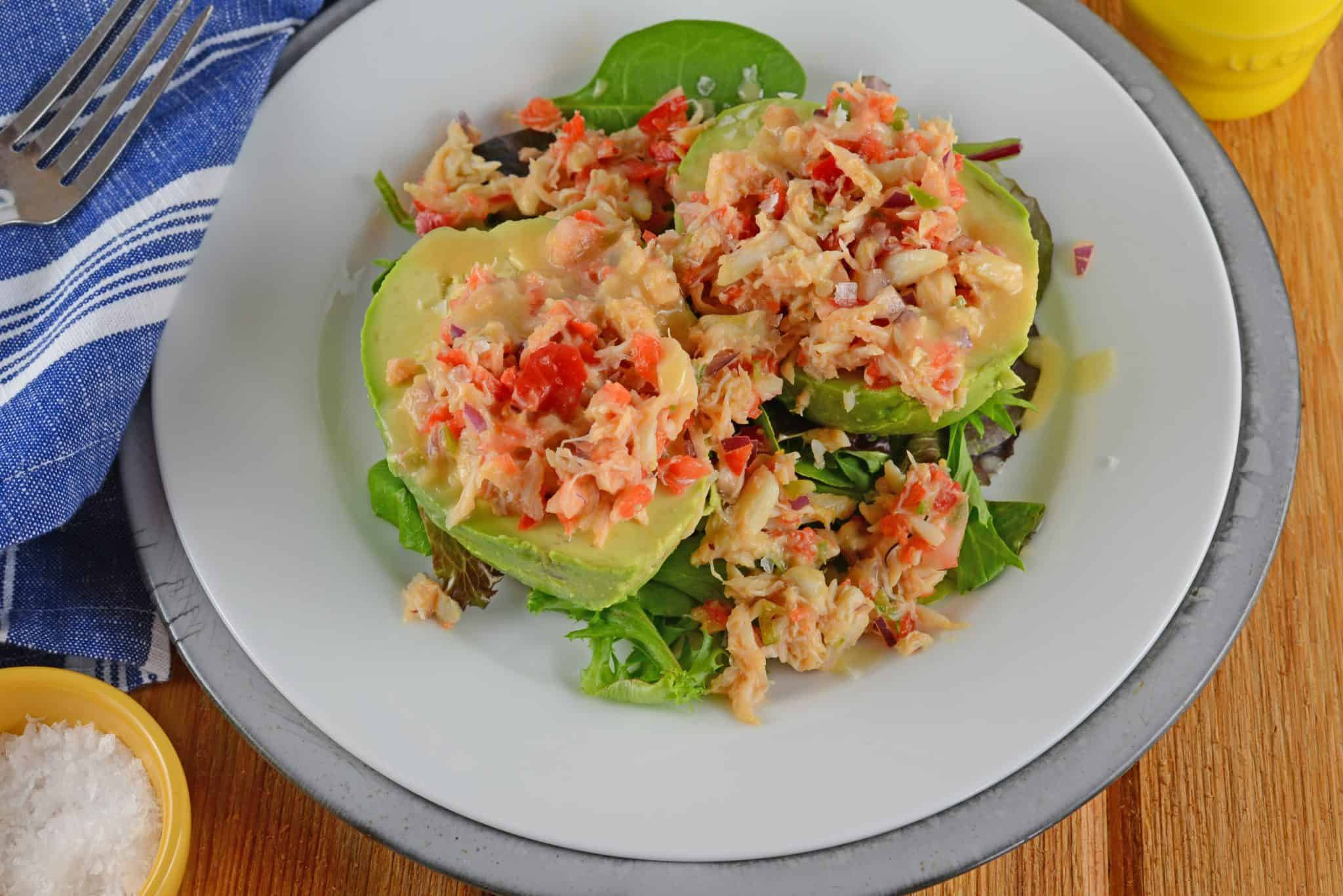 Crab and Avocado Salad is a simple and healthy salad. Buttery lump crab with creamy avocado, red onion, jalapeno and bell peppers topped with Miso Dressing.