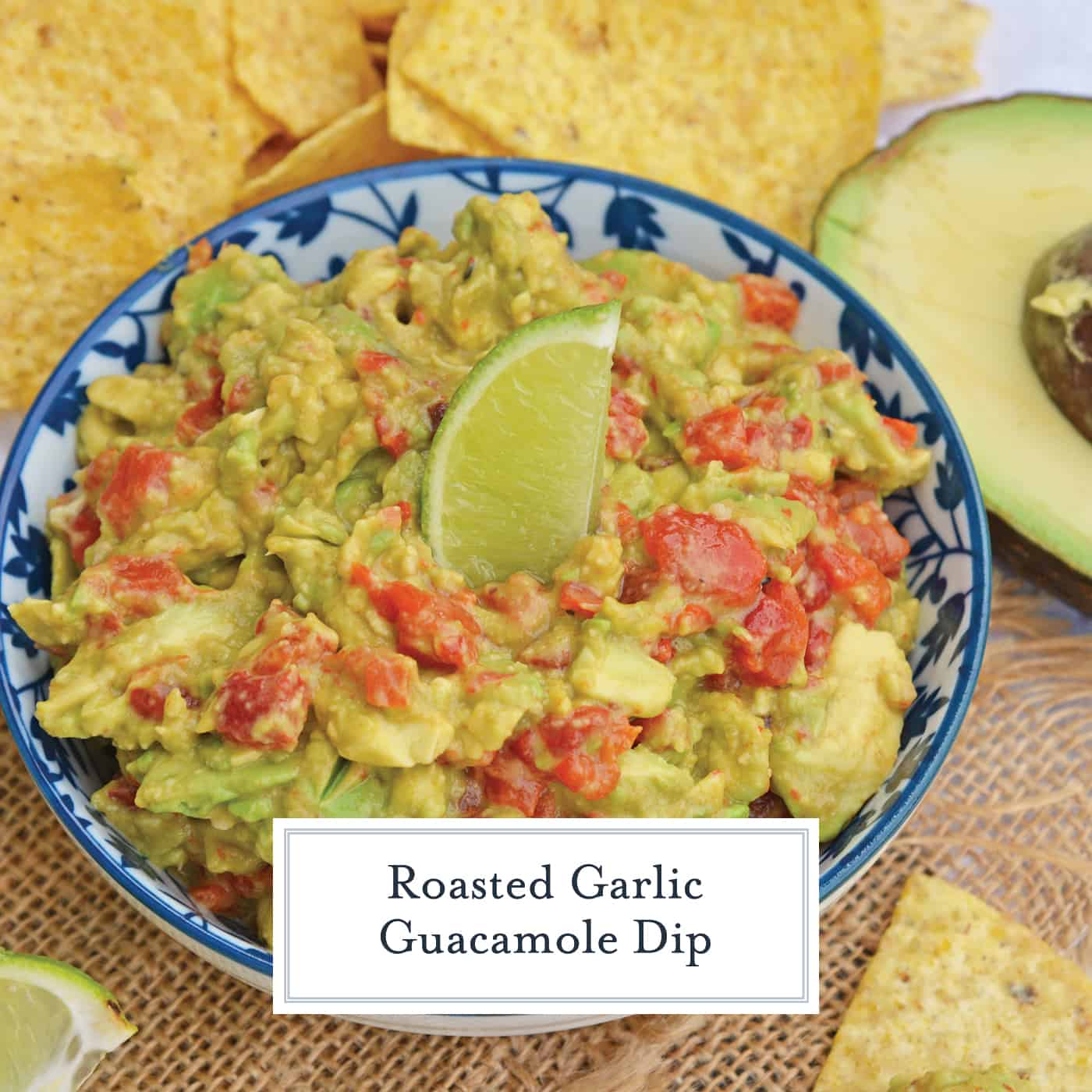 Roasted Garlic Guacamole Dip is a refreshing twist on your typical avocado favorite! Roasted garlic and red bell pepper gives this an edge over the others! #guacamoledip #guacamolerecipes #easyguacamole www.savoryexperiments.com