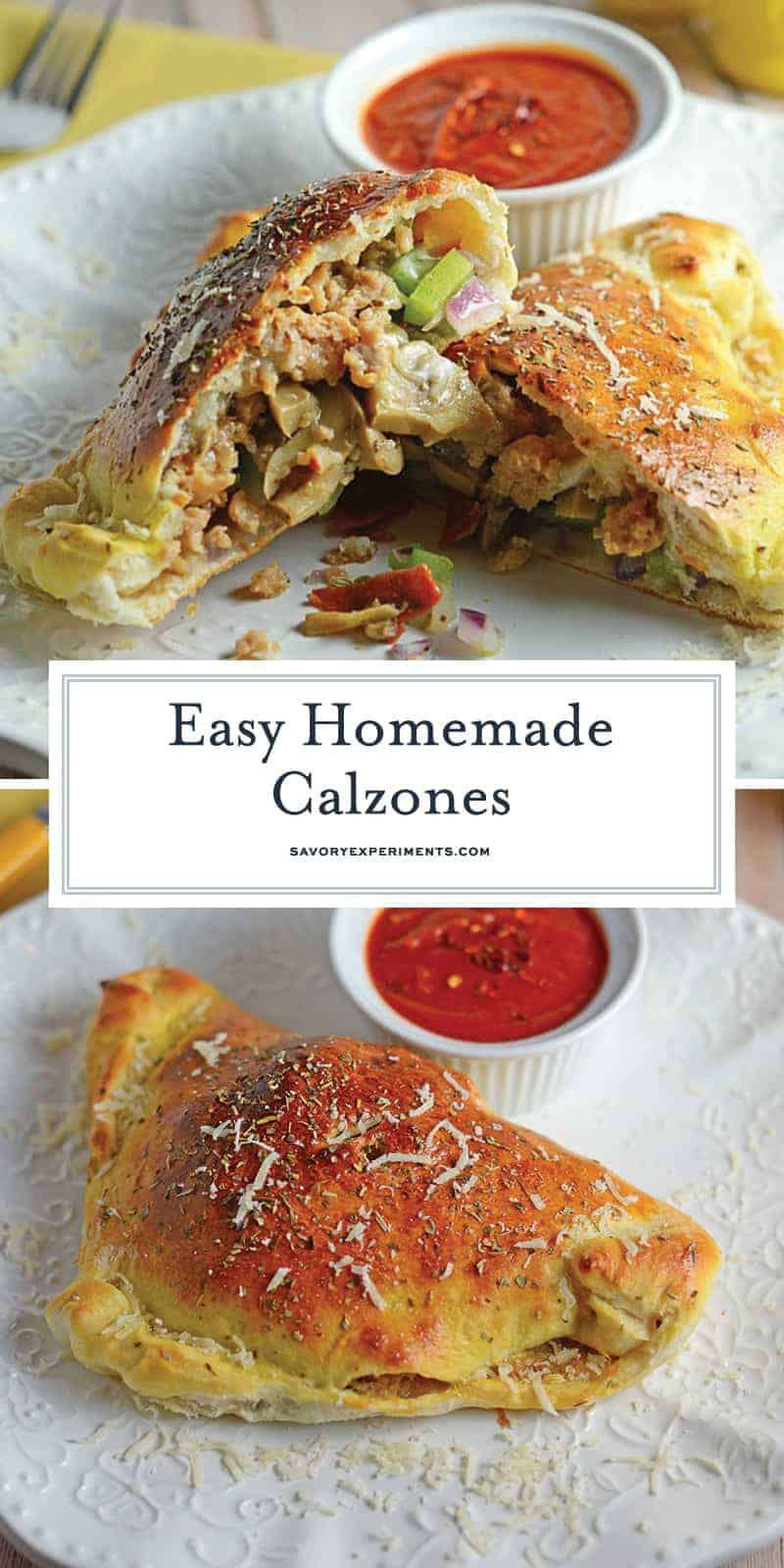"This Easy Calzones Recipe is made with just a handful of ingredients! This homemade calzones recipe is perfect for a ""make your own calzone bar"" for any party! #calzonerecipe #howtomakeacalzone #homemadecalzonerecipe www.savoryexperiments.com"