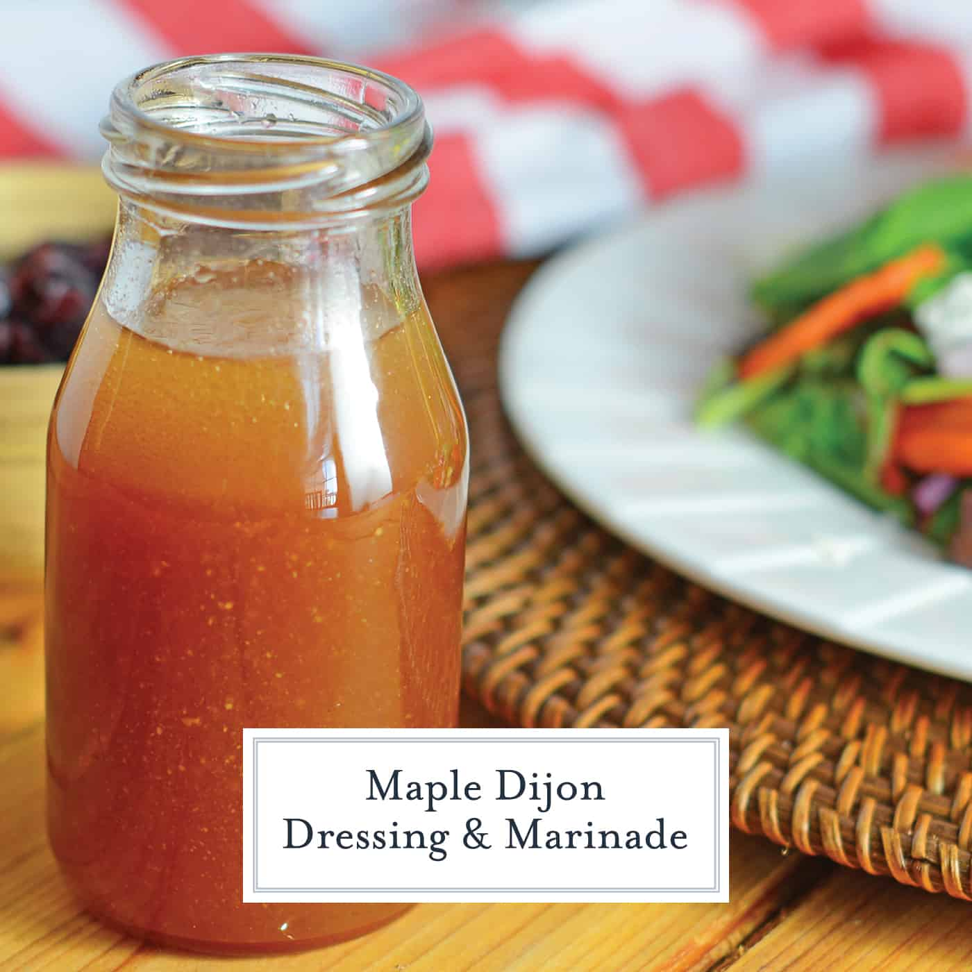 Maple Dijon Dressing is a tasty and simple homemade salad dressing! This dressing with maple syrup will complement any salad or grilled vegetable platter! #dressingwithmaplesyrup #homemadesaladdressing #dijonvinaigrette www.savoryexperiments.com