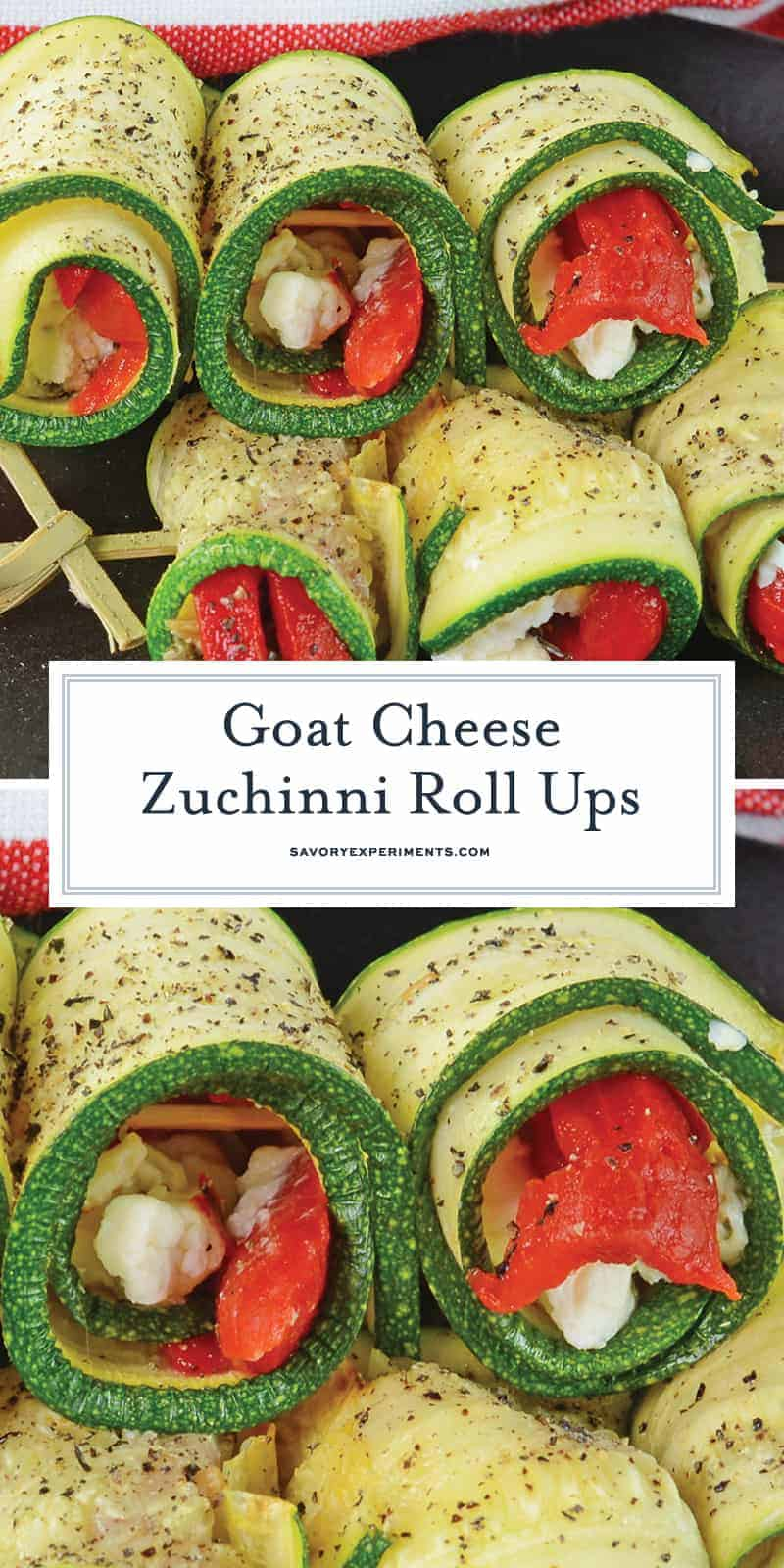 Goat Cheese Zucchini Roll Ups are a tasty toothpick appetizer made with roasted red peppers, seasonings, and creamy goat cheese, all wrapped up in zucchini! #zucchinirollups #rolluprecipes #vegetarianrollups www.savoryexperiments.com
