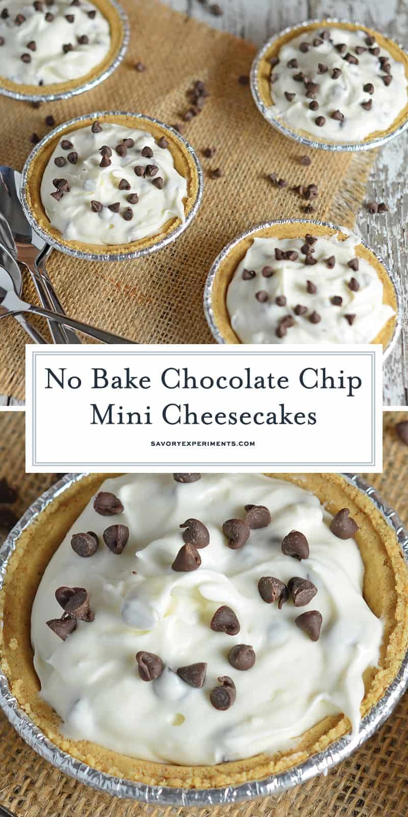 No Bake Chocolate Chip Mini Cheesecakes Recipe is an easy summer time no bake cheesecake recipe. Only takes 10 minutes to make and everyone will enjoy them! #minicheesecakerecipe #nobakecheesecakerecipe #chocolatechipcheesecake www.savoryexperiments.com