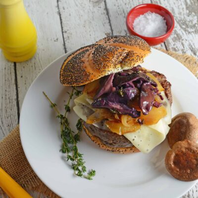 Red Wine Shiitake Burger- earthy and sweet, these toppings make the perfect artisan hamburger at home! www.savoryexperiments.com