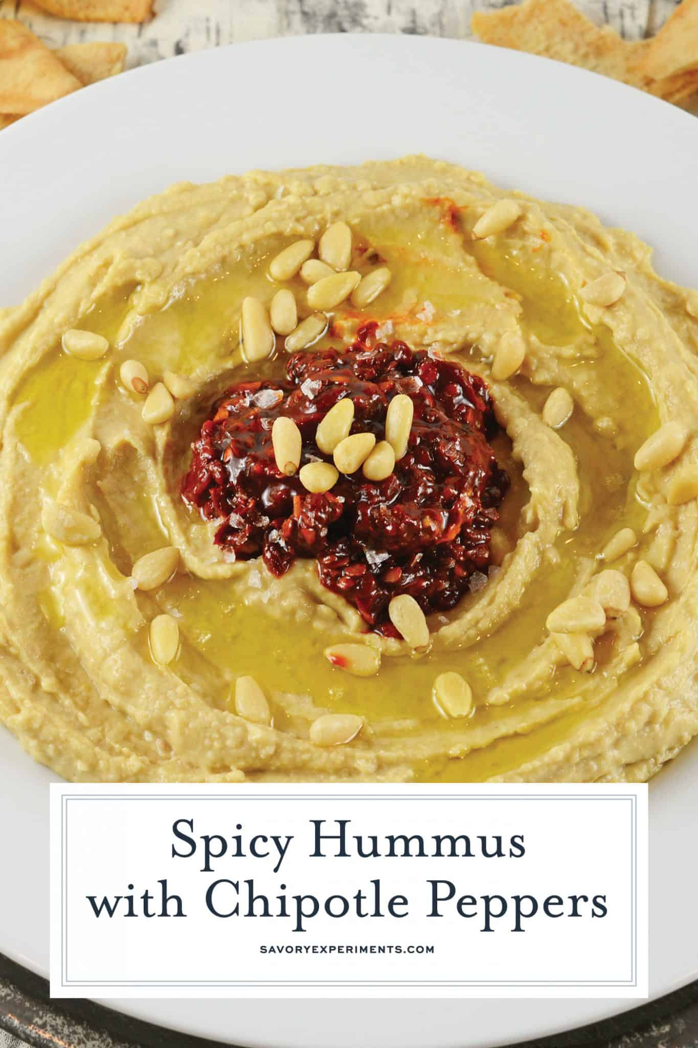 Spicy Hummus with Chipotle Peppers is a spicy homemade hummus recipe. This is the best hummus recipes to make because it is so easy and it stores great! #besthummusrecipe #homemadehummus #howtomakehummus www.savoryexperiments.com