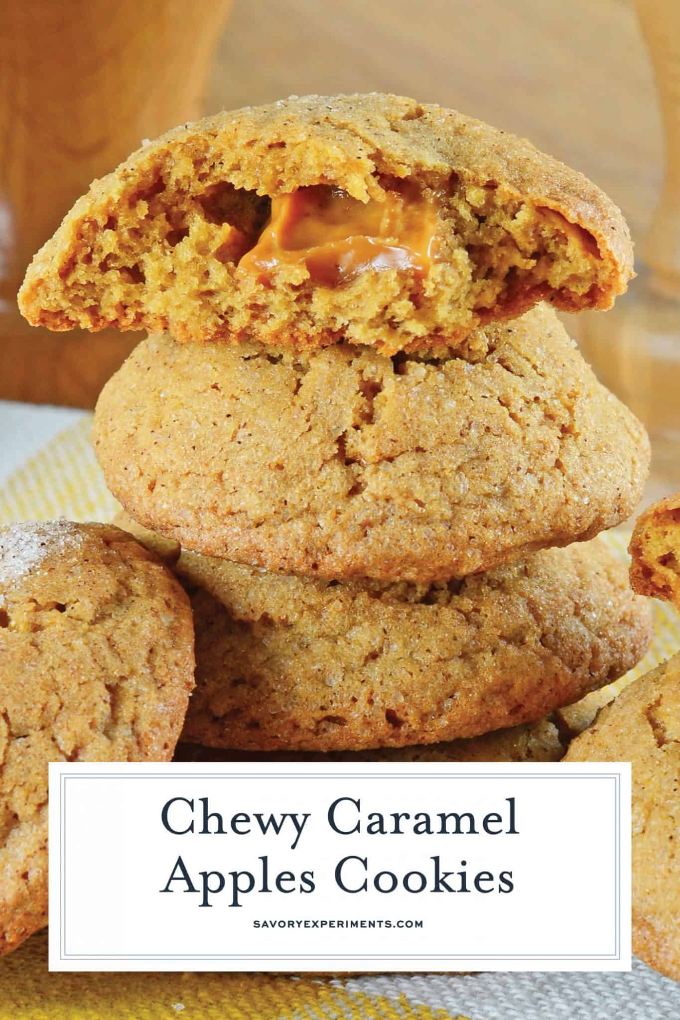 Caramel Apple Cookies are an easy, mess free way to enjoy a caramel apple! This fall cookie recipe is apple spiced cookie dough stuffed with gooey caramel! #applecookies #caramelapple #fallcookierecipe www.savoryexperiments.com