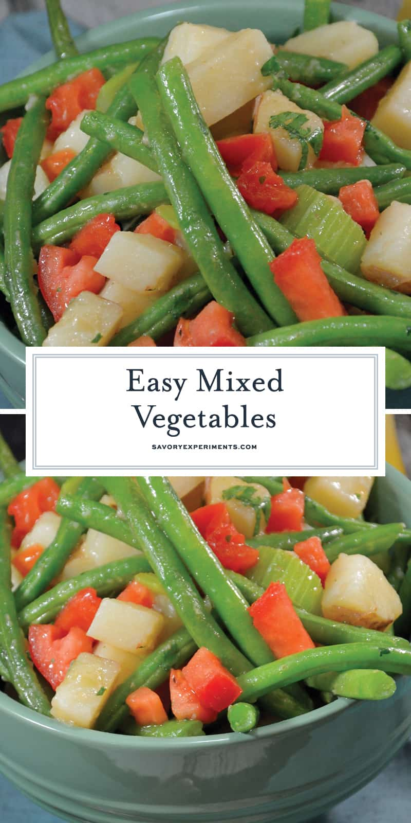 This Mixed Vegetables Recipe is a great side dish that incorporates four different vegetables with a variety of flavors and textures! #mixedvegetables www.savoryexperiments.com