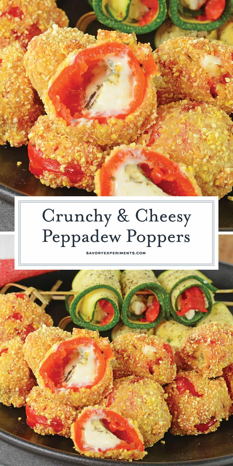 Sweet peppadew peppers stuffed with tangy goat cheese, tossed in cornmeal and then lightly fried. Dip in a chipotle aioli, green goddess or honey mustard sauce. #cheesepoppers www.savoryexperiments.com