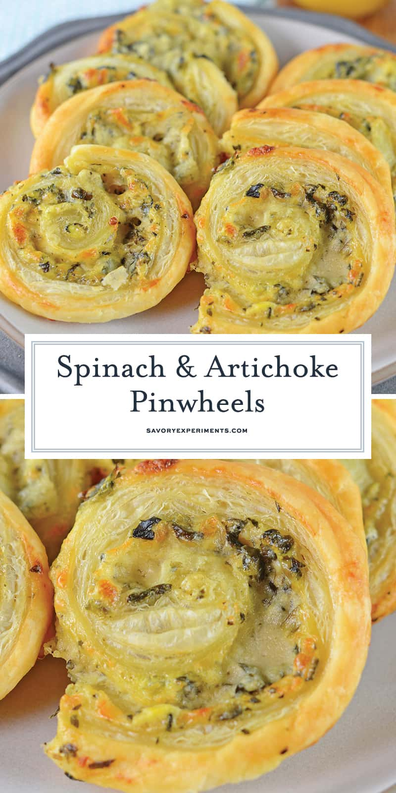 Spinach and Artichoke Pinwheels are an easy party appetizer that everyone will love! It's a Creamy dip rolled in buttery pastry and baked until crispy! #pinwheelrecipes #pinwheelappetizers #puffpastryappetizers www.savoryexperiments.com