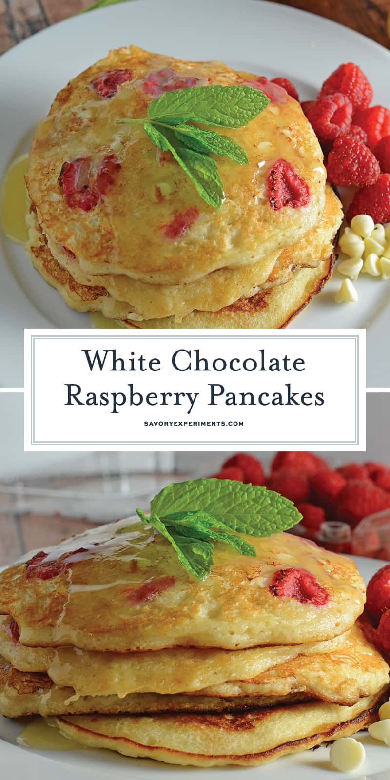 These White Chocolate Raspberry Pancakes are one of the best homemade pancakes recipes you'll find. Packed full of fresh raspberries and white chocolate chips! #homemadepancakes #fluffypancakes #pancakebatter www.savoryexperiments.com