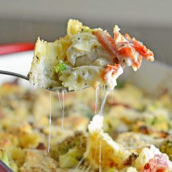 Cheesy Chicken Casserole is an easy casserole recipe perfect for feeding a large family on a budget. Chicken, cheese, pasta and vegetables- delicious! #easycasserolerecipes #bestchickenrecipes www.savoryexperiments.com