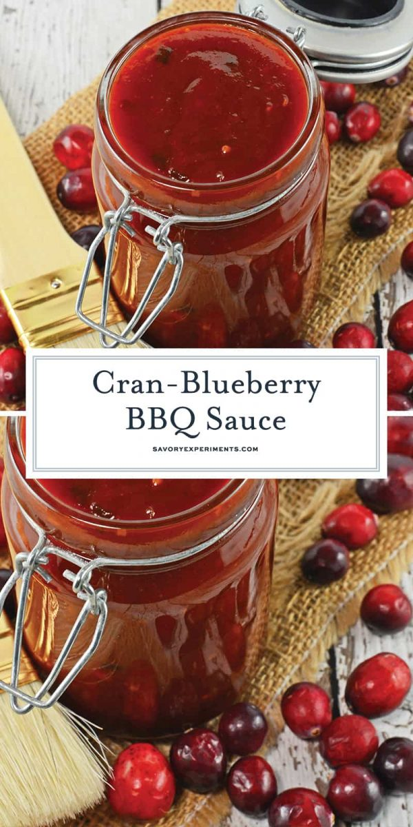Cran Blueberry BBQ Sauce is a zesty sauce for grilled chicken, seafood or even vegetables. Sweet with a little bit of tang and a spike of coffee. ##BBQsaucerecipe #homemadeBBQsauce www.savoryexperiments.com