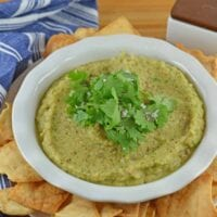 Roasted Eggplant Dip combines garlic, shallots, green chile, lime and cilantro for a flavorful dip and sauce. Serve with tortilla chips or whole wheat flatbread!