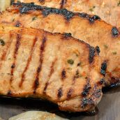 Close up of Onion Soup Mix Grilled Pork Chops