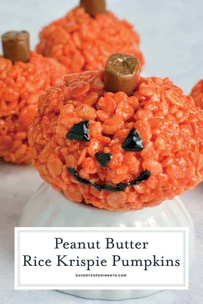Peanut Butter Rice Krispie Treat Pumpkins for pinterest