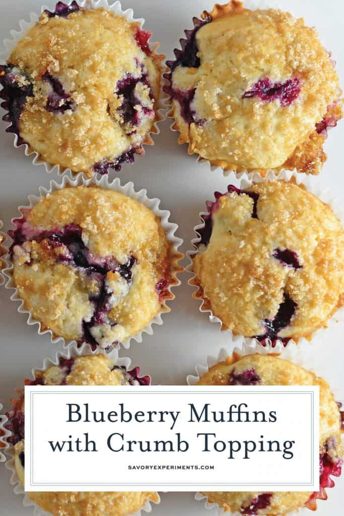 Homemade Blueberry Muffins with Crumb Topping is a super easy recipe for super soft muffins! They're delightfully light and full of flavor! #homemadeblueberrymuffins #bestblueberrymuffins www.savoryexperiments.com
