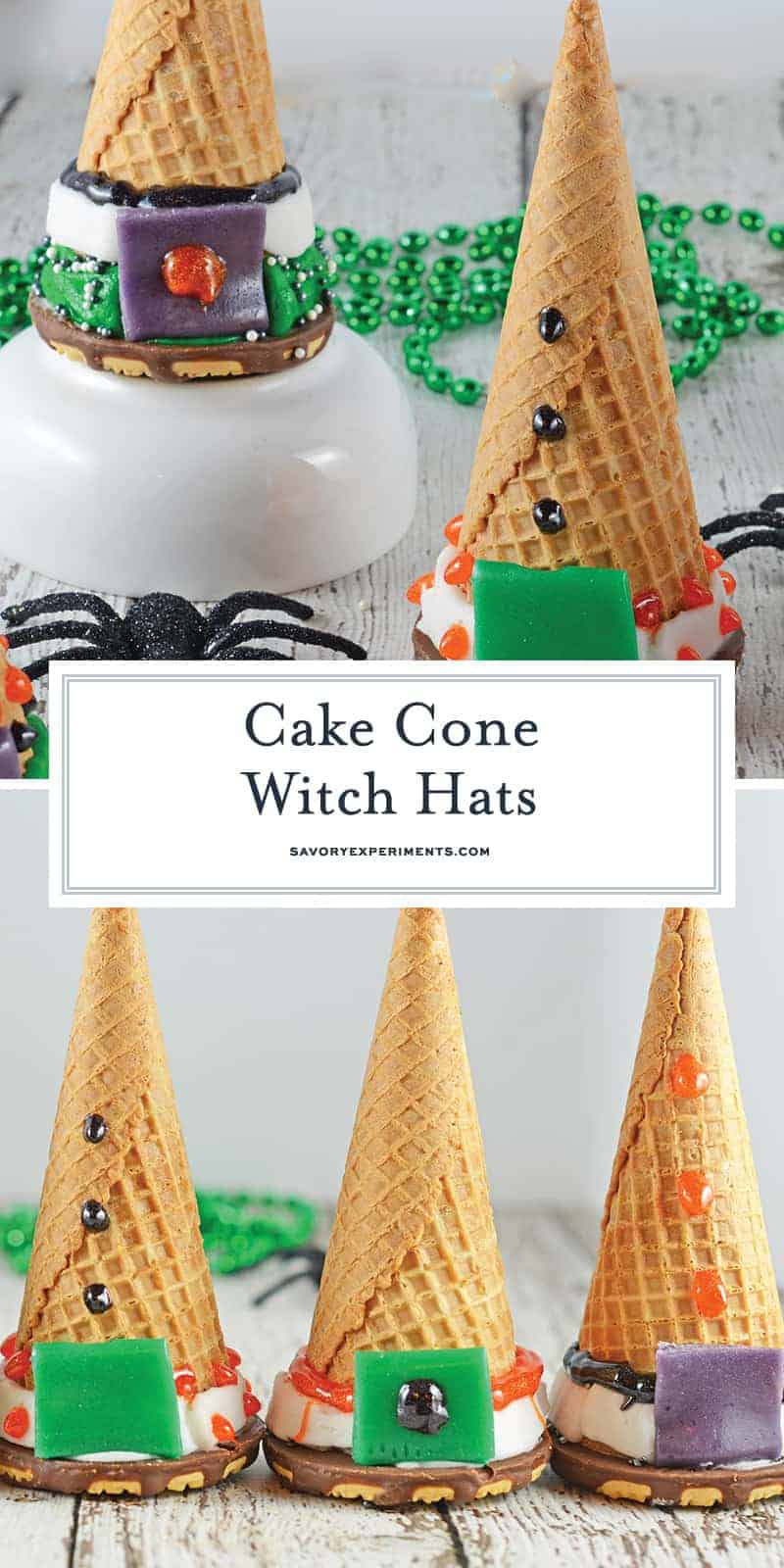 Cake Cone Witch Hats are the perfect halloween activity for kids! Bake cake into a waffle cone, cap it with a cookie, and let them decorate their own treats! #cakecone #icecreamcakecone #halloweentreats www.savoryexperiments.com