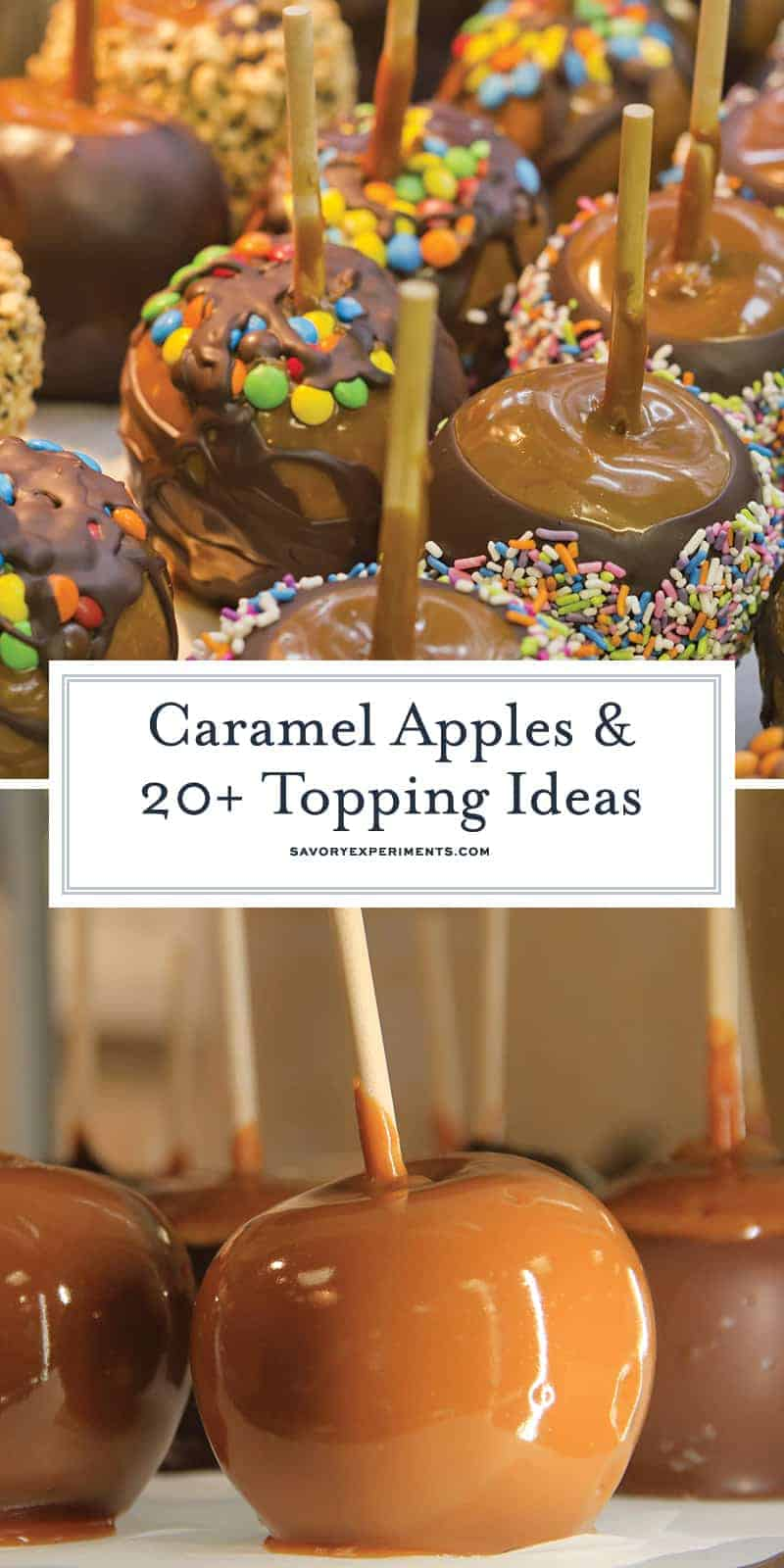 Classic caramel apples recipe with 20+ ideas to roll them in. Perfect for a fall dessert idea or a Halloween treat! #caramelapples www.savoryexperiments.com
