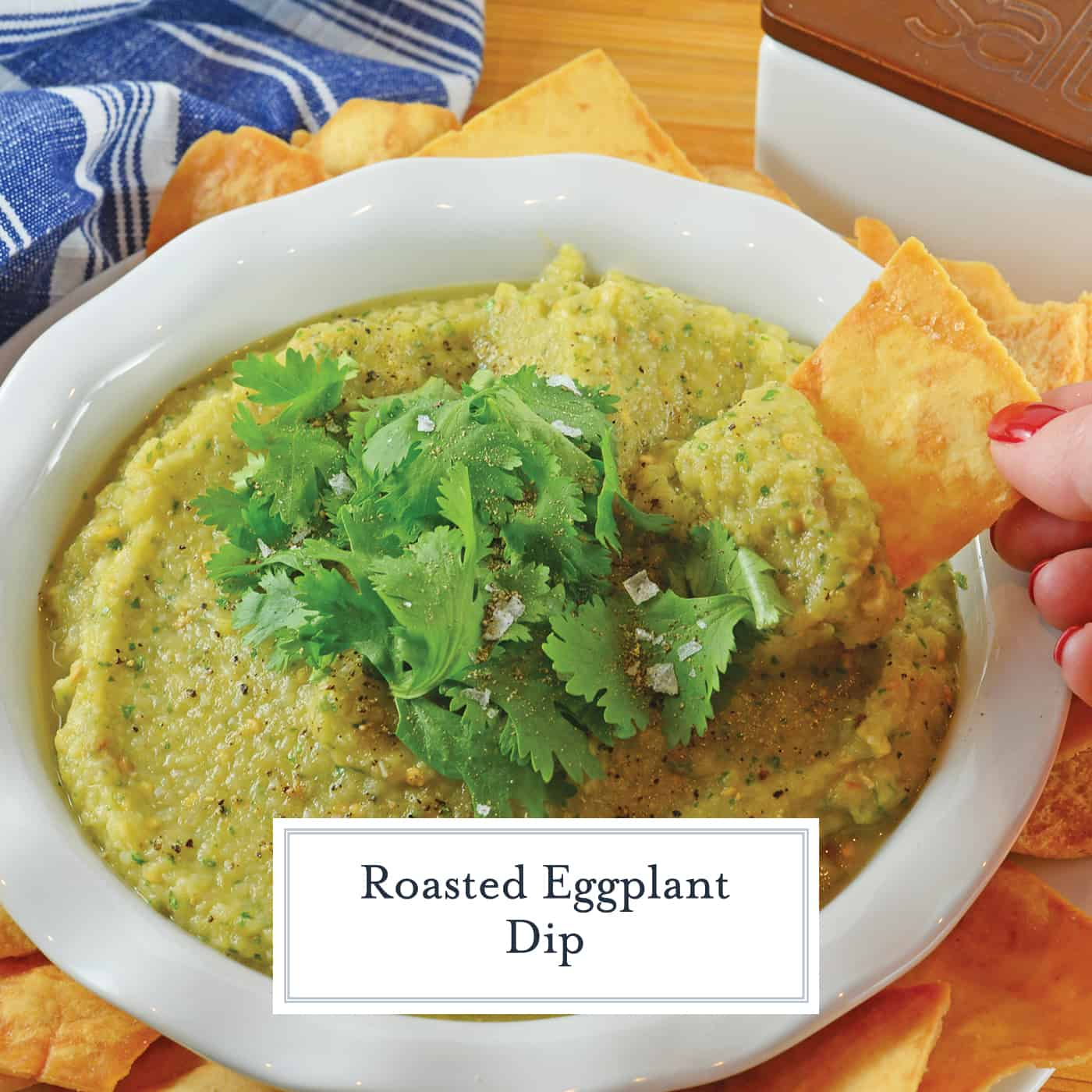 Roasted Eggplant Dip combines garlic, shallot, green chile, lime, and cilantro for a dip full of flavorful! Serve with tortilla chips or whole wheat flatbread! #roastedeggplant #eggplantdip www.savoryexperiments.com