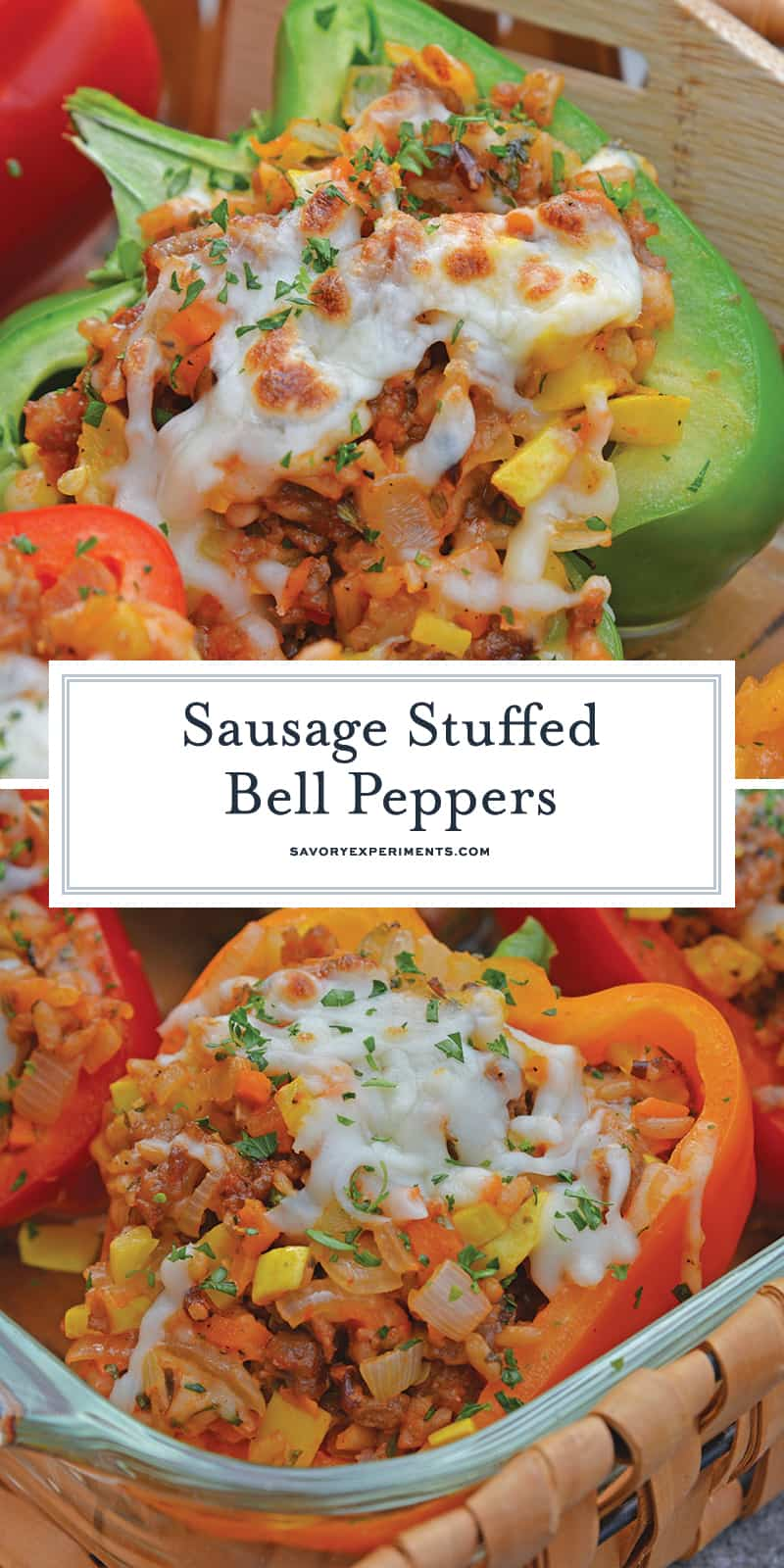 Sausage Stuffed Bell Peppers are a classic Italian dish using stuffed peppers with rice, sausage and lots of colorful vegetables. This make ahead dinner recipe will be a family favorite. #makeaheaddinner #stuffedbellepeppers www.savoryexperiments.com