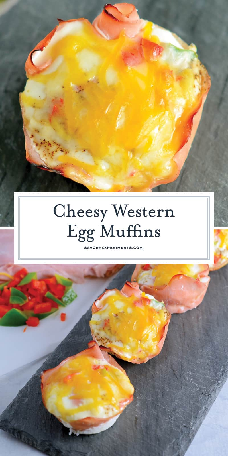 Get ready for these Western Egg Muffins to be your favorite type of Breakfast Eggs. Whether you are eating these baked egg cups at home or on the road, they are sure to be delicious! #bakedeggcups #breakfasteggs #eggmuffins www.savoryexperiments.com