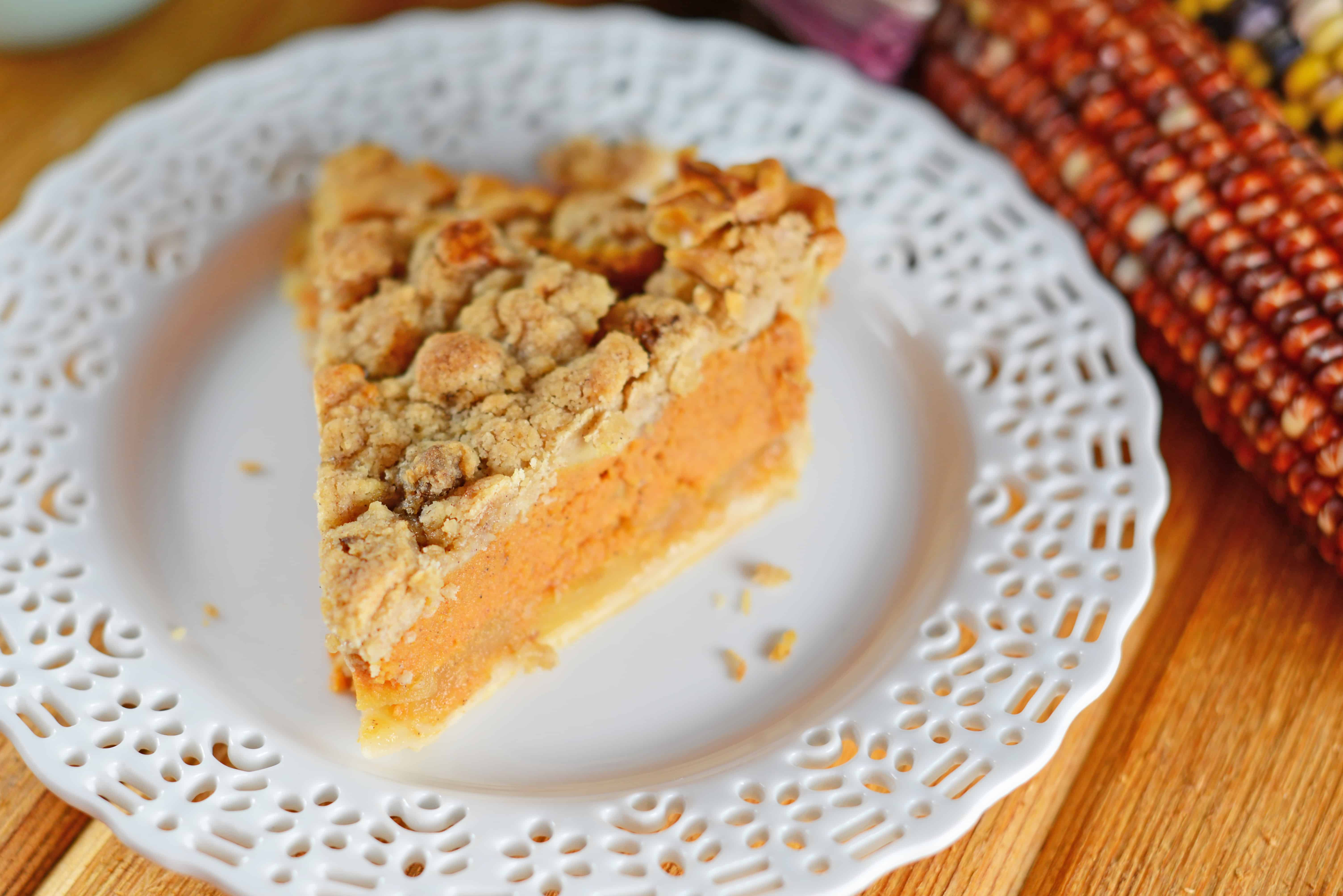 Pumpkin Apple Pie is the best of both worlds! Pumpkin pie and apple pie merged together in a pecan crust with streusel topping.
