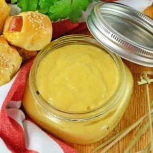 Honey Mustard sauce in a glass jar