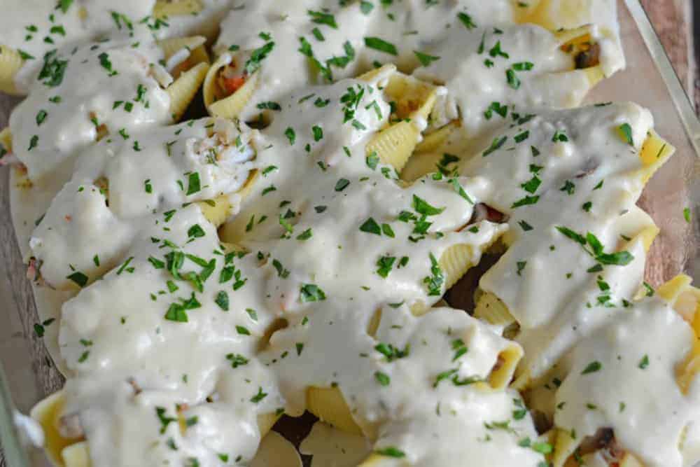 Close up of Seafood Stuffed Shells