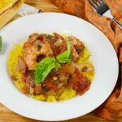Spaghetti Squash with Chunky Roasted Marinara and Shrimp is a healthy way to eat pasta and tomato sauce.