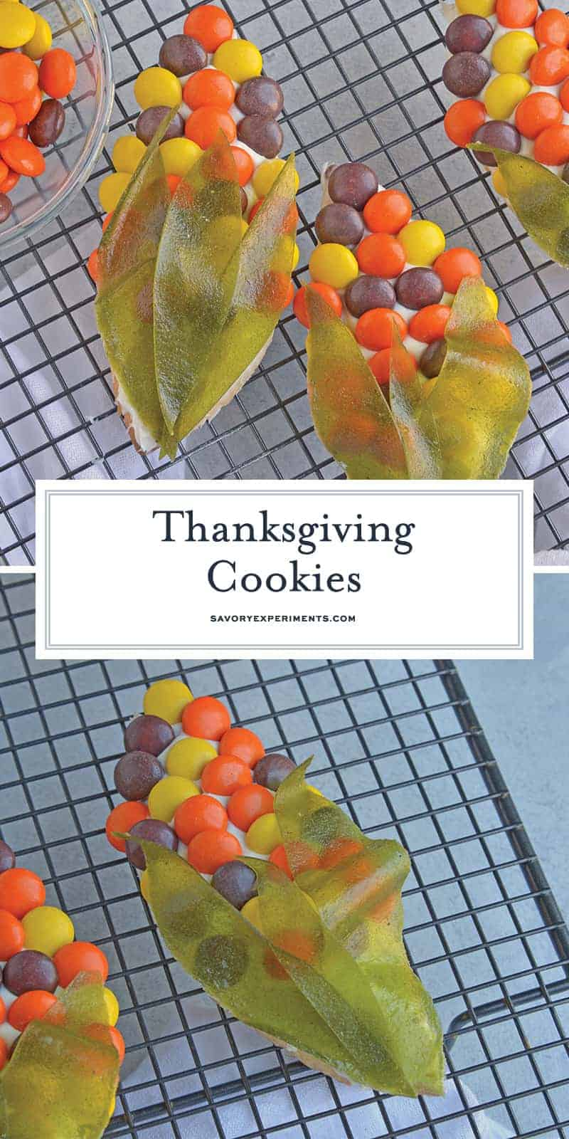 Thanksgiving Cookies are super cute sugar cookie cutouts that can be made alongside your Thanksgiving Turkey Cookies! #sugarcookiecutoutrecipe #thanksgivingcookies #thanksgivingturkeycookies www.savoryexperiments.com