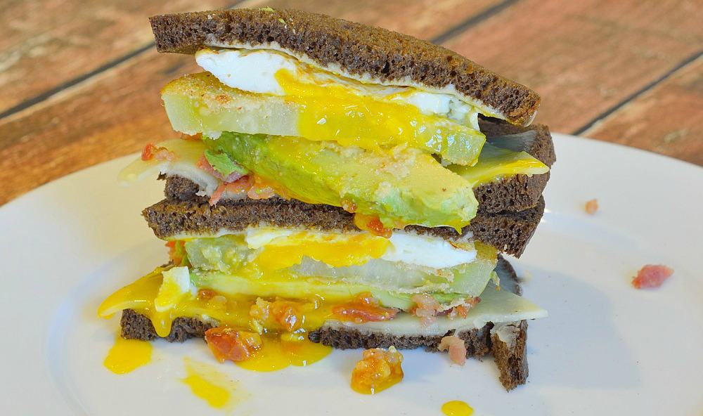 The Whistle Stop Sandwich is awarded the best sandwich of the year! Fried green tomatoes, avocado, white cheddar, bacon and fried egg on pumpernickel bread.