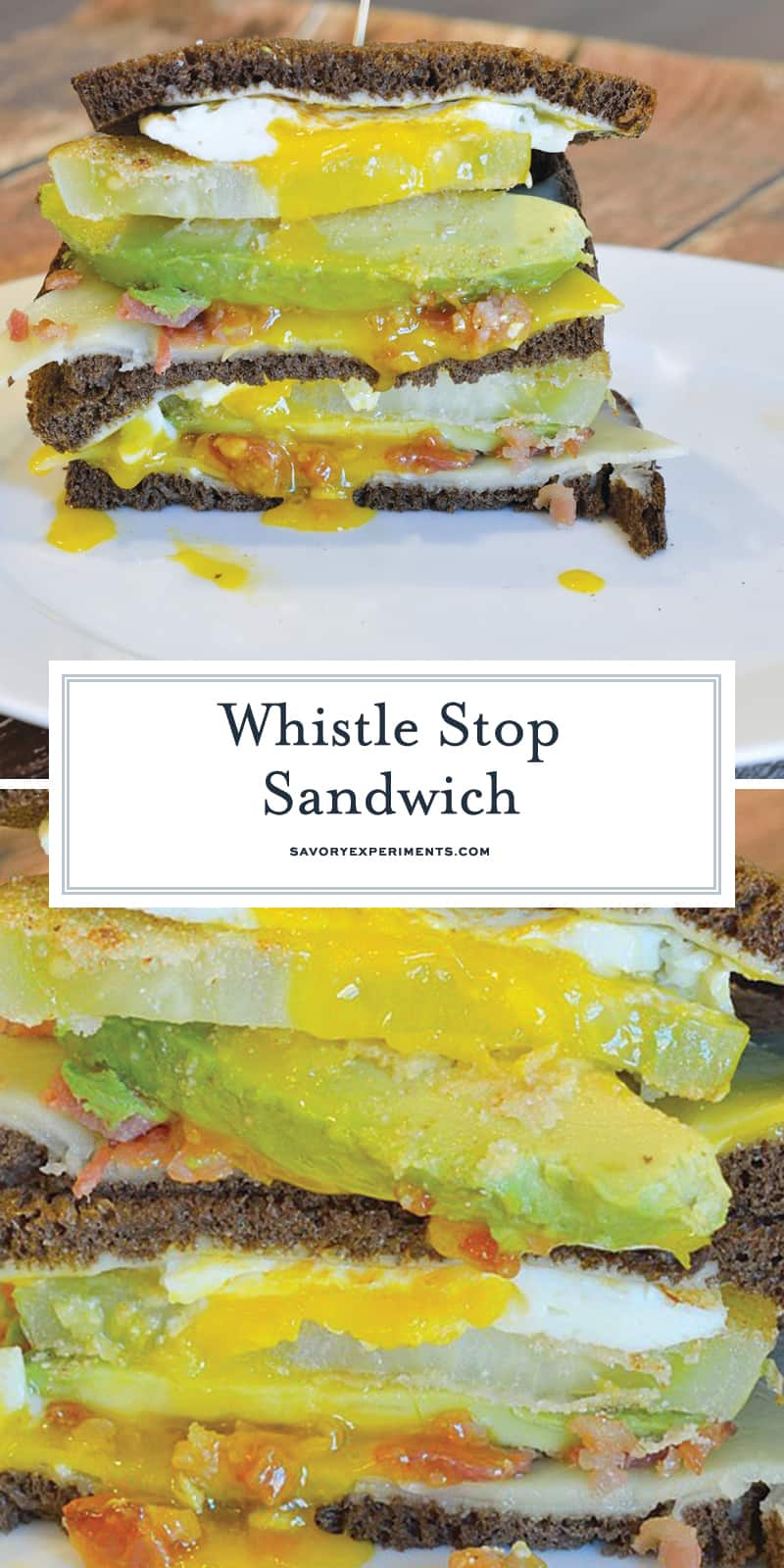 The Whistle Stop Sandwich is a fried drippy egg, avocado, cornmeal crusted green tomato, cheddar and bacon on soft pumpernickel. Crunchy, creamy, sweet and savory. #tomatosandwich www.savoryexperiments.com